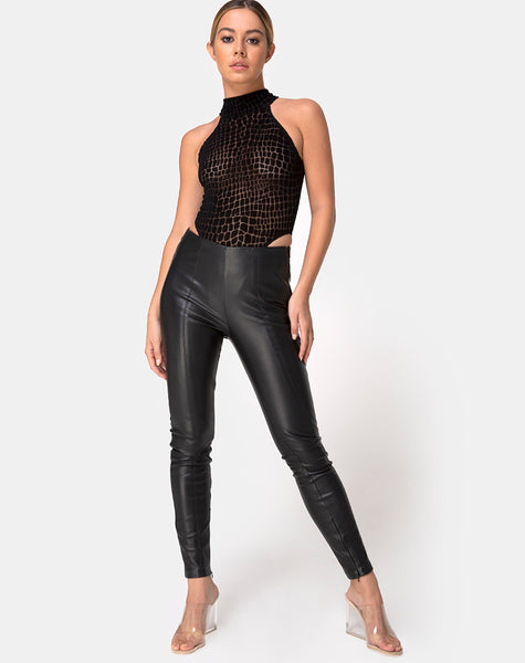 Brava Bodice in Croc Flock Black by Motel