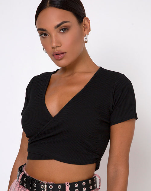 Bria Crop Top in Rib Black