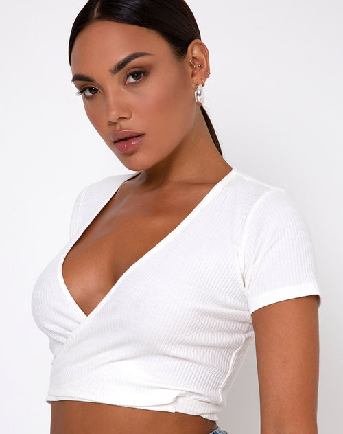 Bria Wrap Top in Rib Ivory