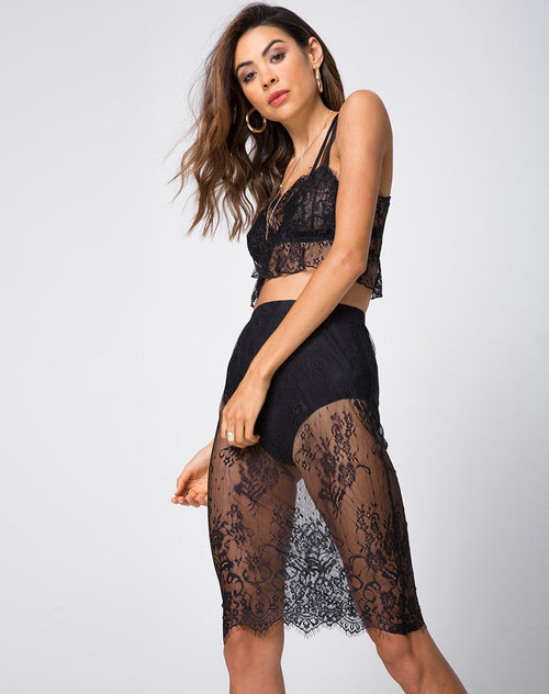 Brina Midi Skirt in Floral Eyelash Lace Black by Motel