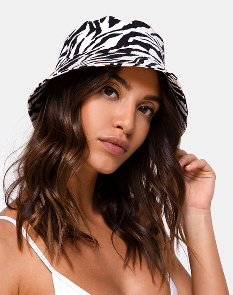Bucket Hat in 90's Zebra by Motel Hat