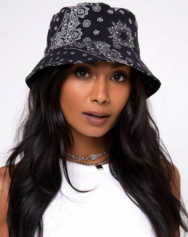 Bucket Hat in Bandana Black Placement by Motel