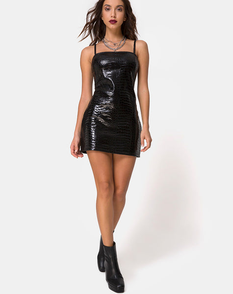 Burmay Dress in PU Croco Black by Motel