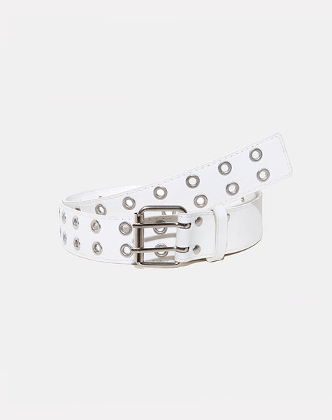 Double Grommet Belt in Punk White PU by Motel