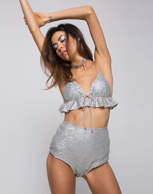 Cacia Crop Top in Diamond Glitter Silver by Motel