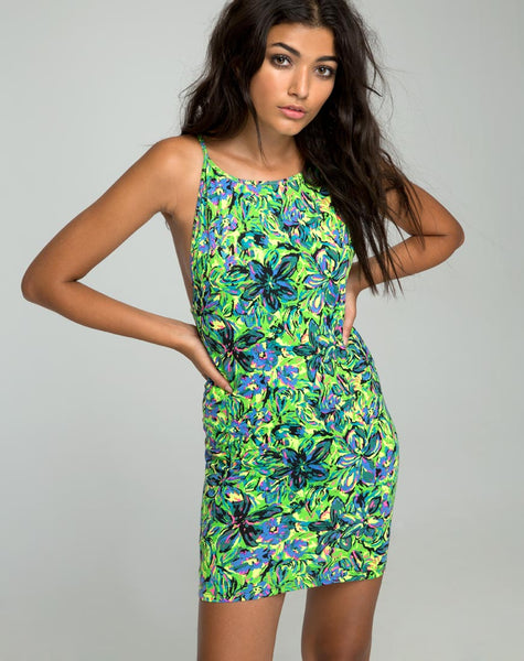 Canna Bodycon Dress in Fluro Flower Citrus by Motel