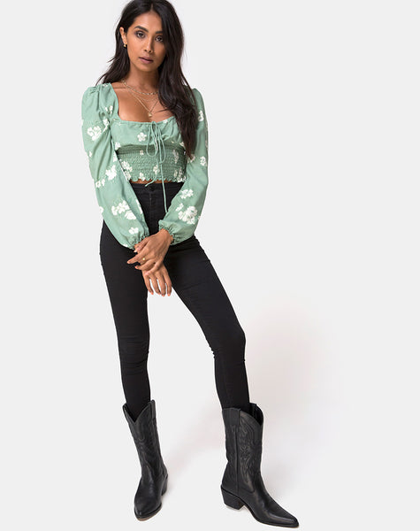 Carmen Top in Mono Flower Green by Motel