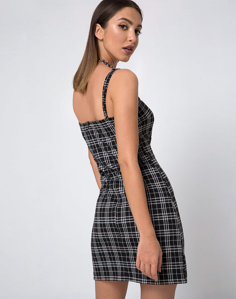 Cecile Slip Dress in Mono Plaid Black by Motel