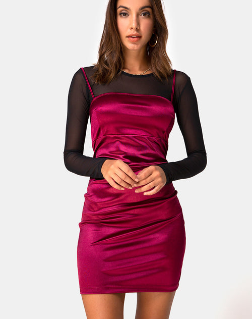 Cecile Slip Dress in Satin Burgundy by Motel