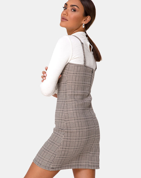 Cecile Dress in Check Grey by Motel