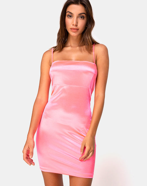 Cecile Slip Dress in Neon Pink by Motel