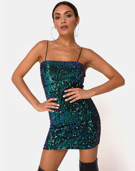 Cecile Slip Dress in Velvet Green Iridescent Sequin by Motel