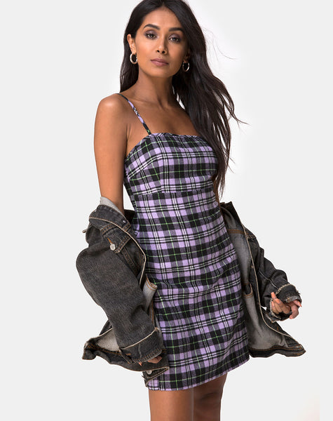 Cecile Dress in Plaid Lilac by Motel