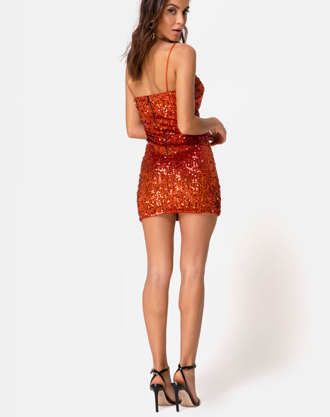Cecile Slip Dress in Velvet Rust Sequin