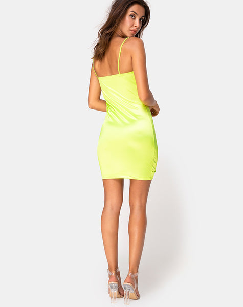 Cecile Slip Dress in Neon Yellow by Motel