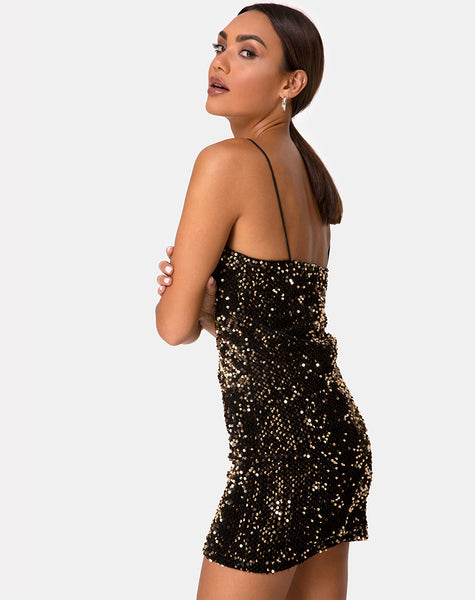 Cecile Slip Dress in Velvet Gold Sequin by Motel