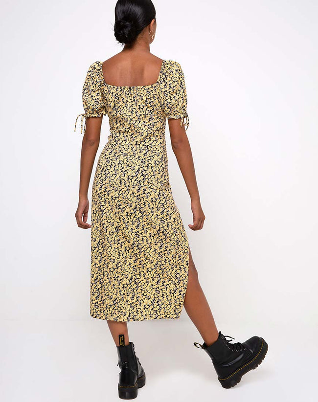 Cello Midi Dress in Mini Bloom Yellow by Motel