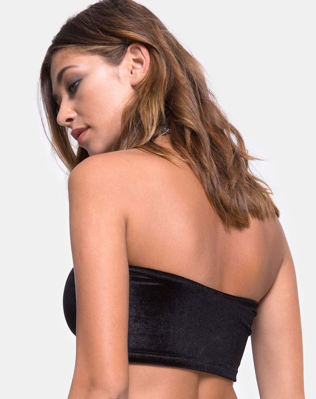 Geode Bandeau Top in Velvet Black by Motel