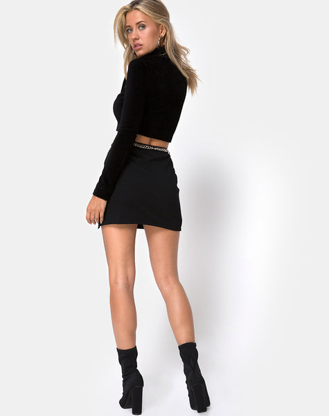 Chain Belt Skirt in Black by Motel
