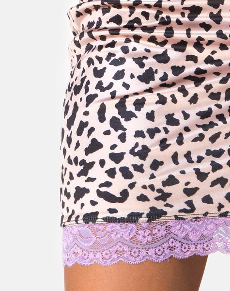 Cherry Skirt in Animal Satin with Lilac Lace by Motel