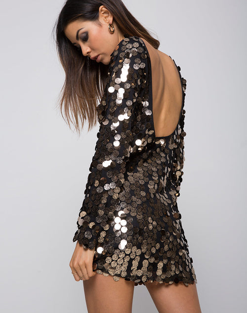 Malia Bodycon Dress in Speckle Disc Sequin Black by Motel