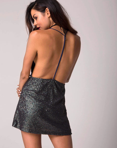 Cindy Mini Dress in Galaxy Twinkle Sequin by Motel