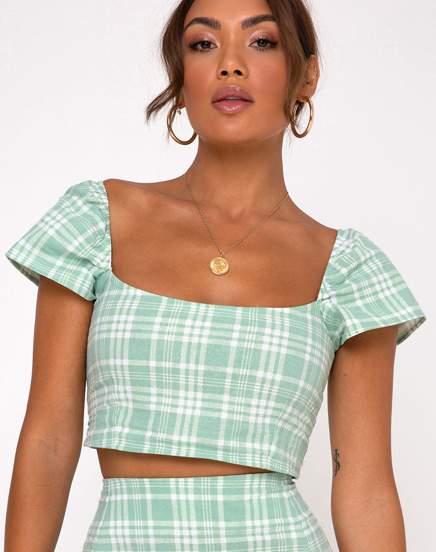 Cindy Crop Top in Table Cloth Neo Mint by Motel 3