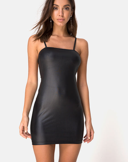 Salli Bodycon Dress in Black Rib by Motel