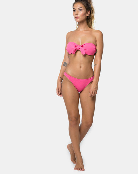 Cleo Bikini Top in Textured Soft Pink by Motel