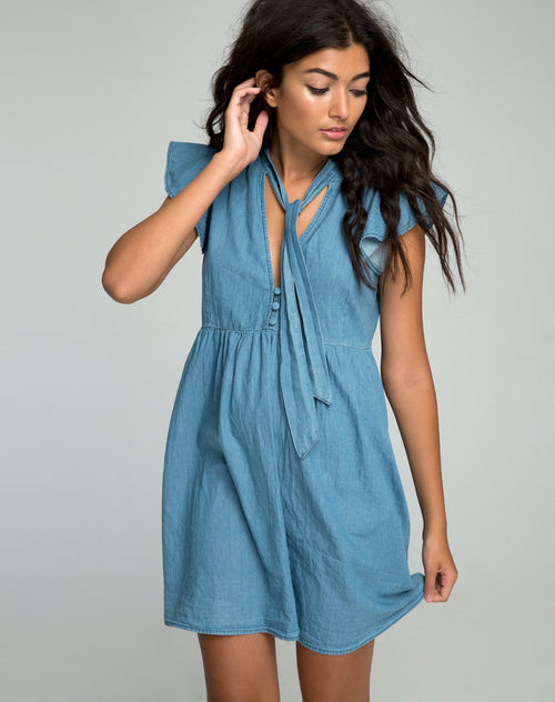 Cloten Babydoll Dress in Summer Wash Denim Chambray by Motel