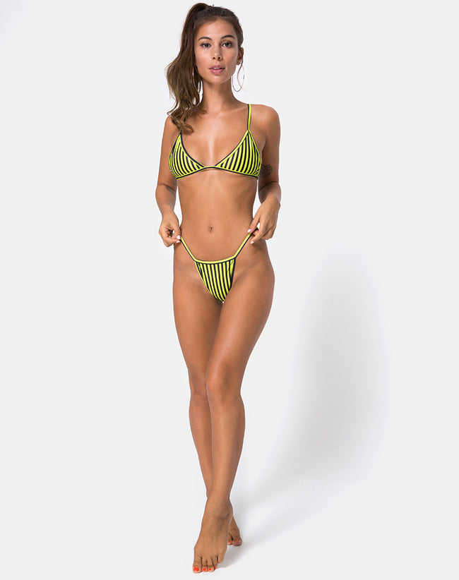 Clova Bikini Bottom in Slim Stripe Black Citrine By Motel