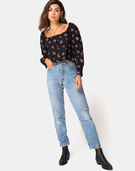 Conila Crop Blouse in Sohey Rose Black By Motel