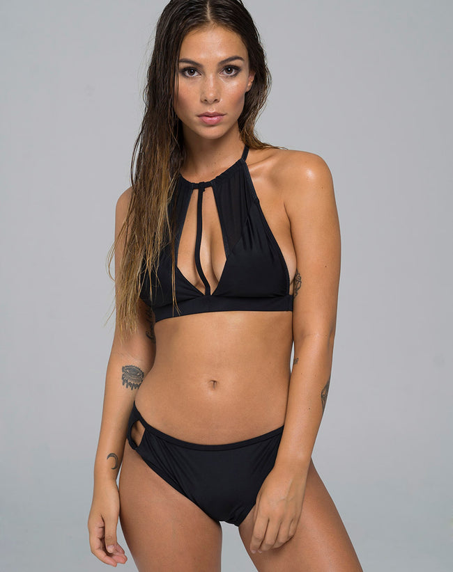 Connie Cutout Bikini Bottom in Flat Spandex Black by Motel