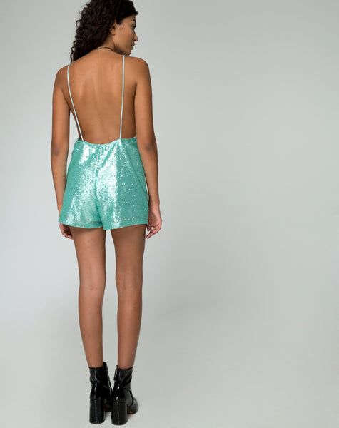 Corsica Playsuit in Peppermint Mini Sequin by Motel