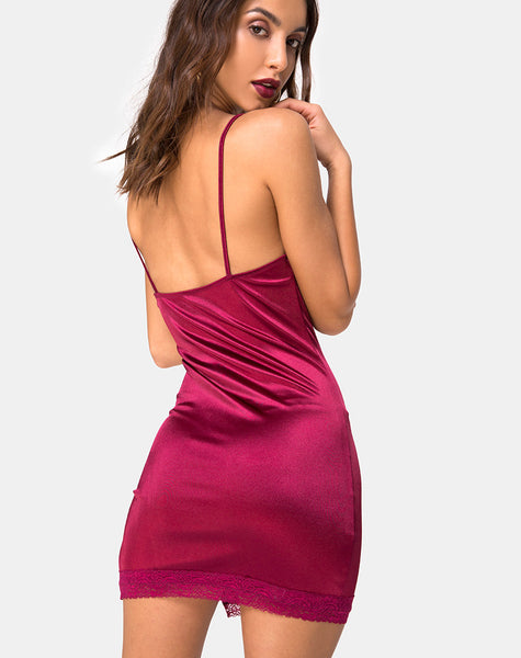 Coti Dress in Burgundy with Burgundy Lace
