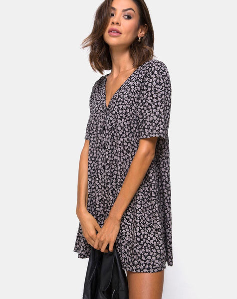 Crosena Swing Dress in Ditsy Rose Black by Motel