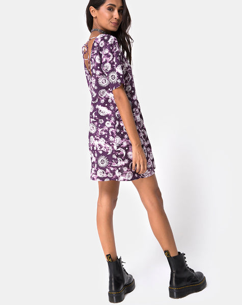 Crosena Swing Dress in Purple Zodiac By Motel