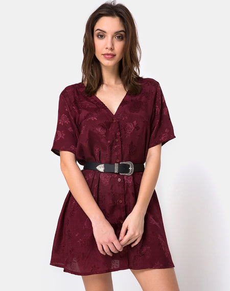 Gaval Mini Dress in Satin Rose Burgundy by Motel