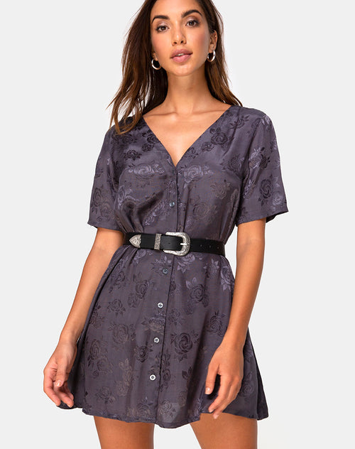 Crosena Swing Dress in Satin Rose Grey by Motel