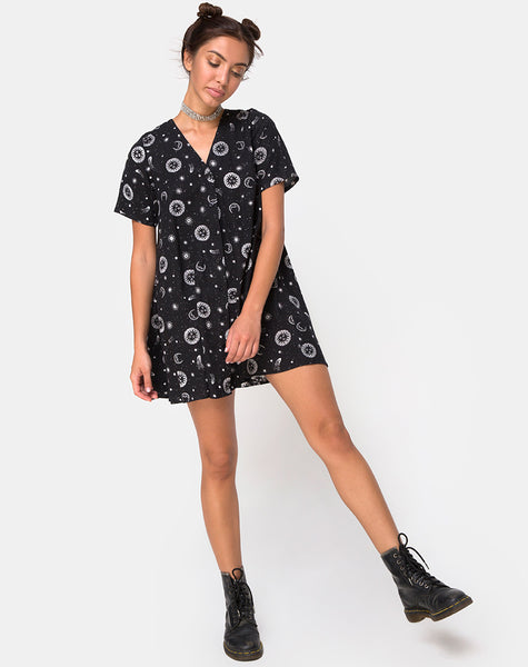 Crosena Swing Dress in Small Celestial Black by Motel X Princess Polly