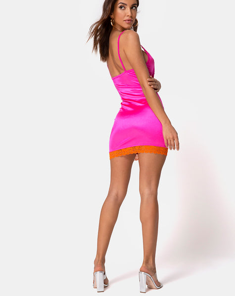 Cupid Dress in Pink with Orange Lace by Motel