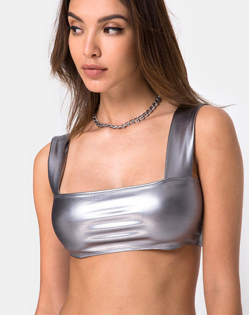 Katie Top in Metallic Silver by Motel
