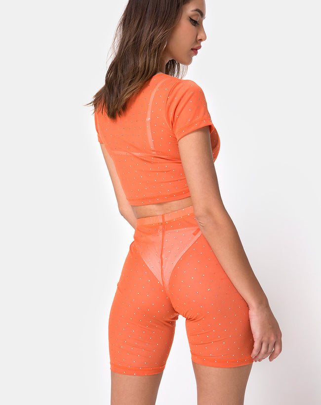 Bike Short in Crystal Net Orange by Motel