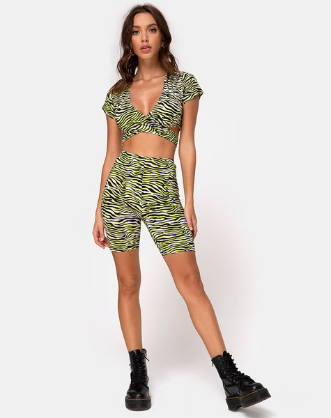 Cycle Short in Zebra Fluro Green by Motel