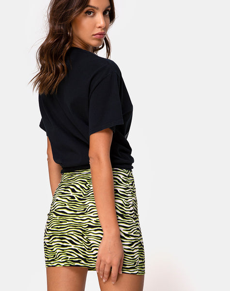 Kimmy Mini Skirt in Zebra Fluro Green by Motel