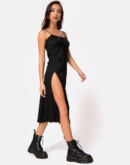 Kinley Dress in Satin Cheetah Black by Motel