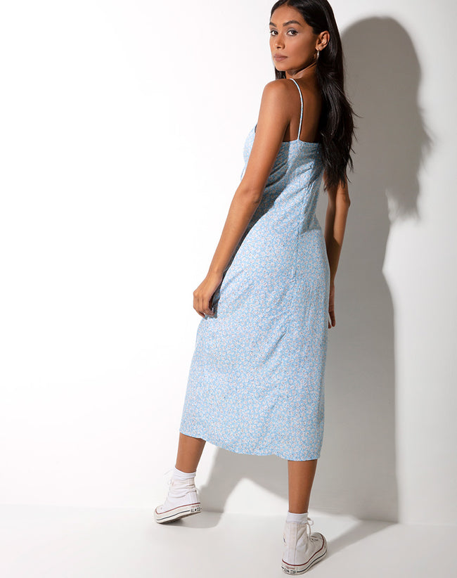 Cypress Midi Dress in Ditsy Rose Blue by Motel