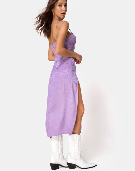 Cypress Midi Dress in Satin Ditsy Rose Lavender by Motel
