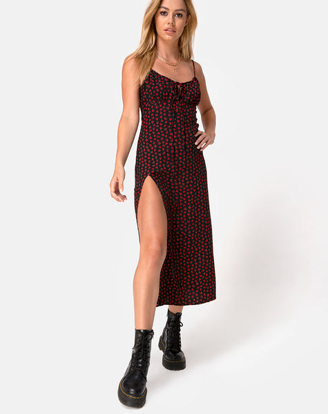 Cypress Midi Dress in Dotty Rose Red by Motel