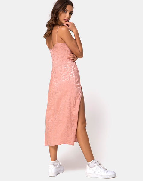 Cypress Midi Dress in Satin Cheetah Dusty Pink by Motel